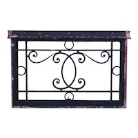 Heavy French Beaux-Arts Wrought Iron Door Architectural Transom