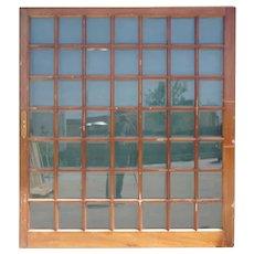 Large Vintage Argentine Mahogany and Beveled Glass Pane Single Sliding Door