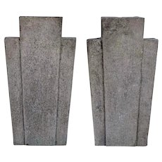 Pair of American Chicago Art Deco Limestone Architectural Building Keystones