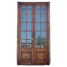 Argentine Mahogany Beveled Glass Pane French Double Door and Frame