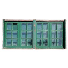 Argentine Painted Mahogany Glass Pane Four-Part Casement Window