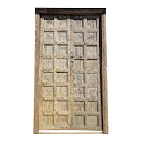Large Indian Yellow Painted Teak and Iron Mounted (Clavos) Double Door