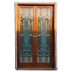 Vintage French Art Deco Style Stained, Beveled Etched Glass Sliding Double Pocket Door