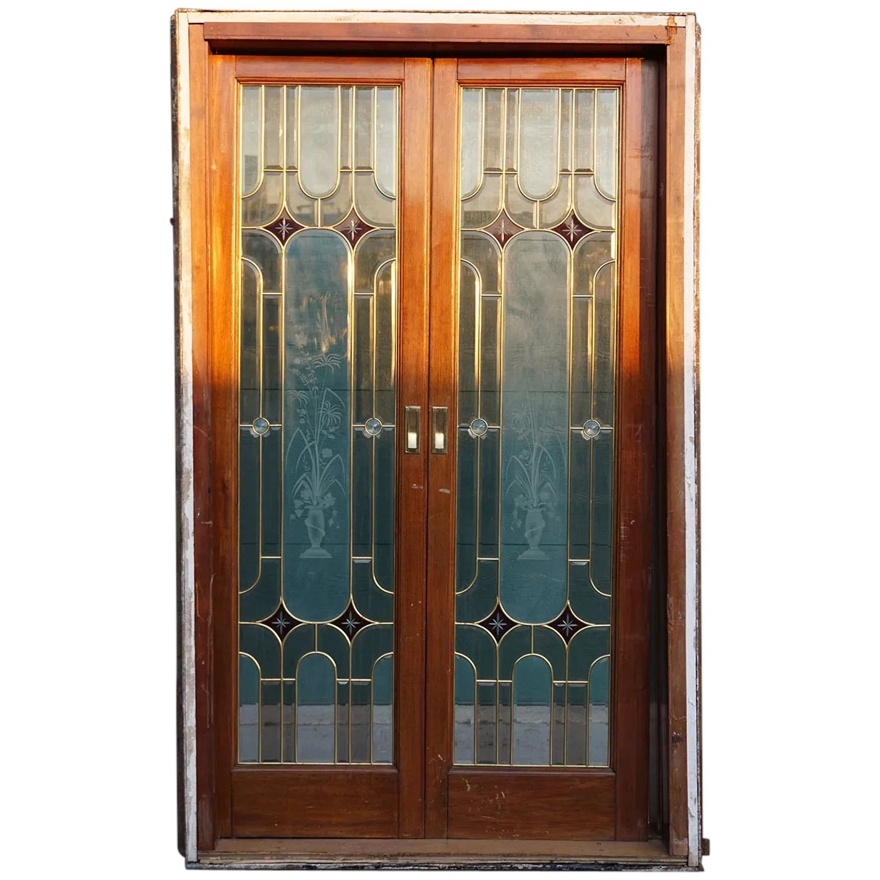 Vintage French Art Deco Style Stained