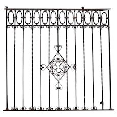 Very Large Spanish Hand Forged Iron Window Grille Panel (Reja)