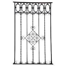 Very Large Argentine Hand Forged Iron Window Grille Panel (Reja)
