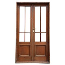 French Provincial Walnut and Beveled Glass Double Door and Frame