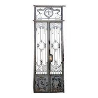 French Louis XVI Revival Painted Wrought Iron Double Door Entry and Transom