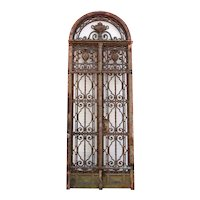 Fine French Louis XVI Revival Wrought Iron Double Door Entry and Arched Transom