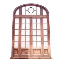 French Beaux Arts Walnut, Beveled Glass Double Door, Arched Transom and Sidelights
