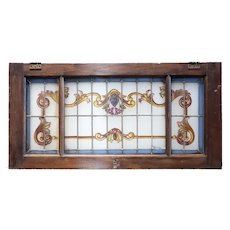 Argentine Beaux Arts Stained, Leaded and Painted Glass Rectangular Mahogany Window Transom