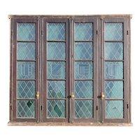 Set of Four Argentine Leaded Glass Diamond and Shield Pane Cedro Mahogany Windows