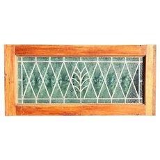 Argentine Leaded Diamond Pane Glass and Mahogany Window Transom