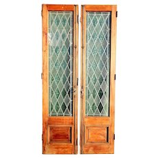 Argentine Leaded Diamond Pane Glass and Cedro Mahogany Double Door