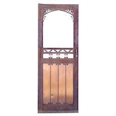 Vintage American Gothic Revival Hammered Iron and Copper Single Door