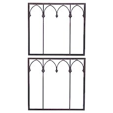 Pair American Gothic Revival Wrought Iron Window Grilles