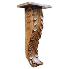 Indian Goan Painted Teak Architectural Scrolled Bracket Shelf