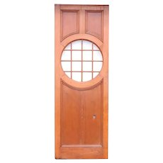 American Solid Mahogany and Round Glass Window Paneled Single Door