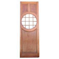 American Faded Mahogany Paneled and Round Glass Window Single Door