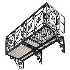 Complete American Renaissance Revival Acacia Hotel Wrought Iron Balcony
