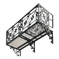 Complete Long American Beaux Arts Acacia Hotel Wrought Iron Balcony