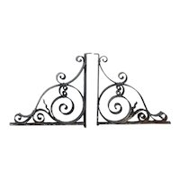Pair American Beaux Arts Acacia Hotel Wrought Iron Architectural Brackets