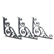 Set of Three American Beaux Arts Acacia Hotel Wrought Iron Architectural Brackets