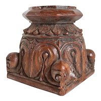 Small Indian Hand Carved Teak Square Column Capital