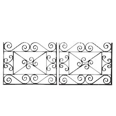Pair of American Beaux Arts Acacia Hotel Wrought Iron Architectural Panels