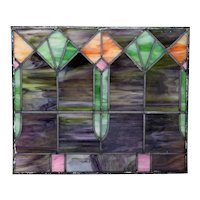 Small American Ohio Mission Style Stained and Leaded Glass Window