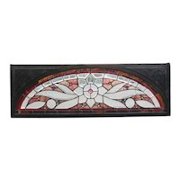American Eastlake Stained, Beveled, Leaded and Jewelled Glass Arched Transom