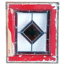Small Aesthetic Movement Stained, Leaded and Pressed Jewel Glass Window