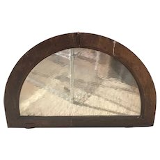 Argentine Cedar and Textured Glass Arched Architectural Window/Door Transom
