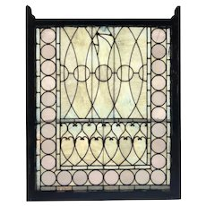 American Tiffany Style Stained and Leaded Opalescent Glass and Pine Frame Window
