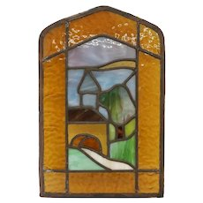 Small American Arts and Crafts Leaded Glass Covered Bridge Landscape Window