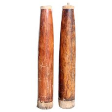 Pair of Indian Solid Satinwood Architectural Round Columns