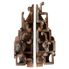 Pair of Chinese Qing Pine/Poplar Architectural Openwork Carvings