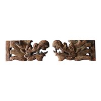 Pair of Chinese Carved Pine/Poplar Dragon Architectural Bracket Carvings