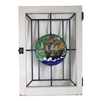 American Arts and Crafts Leaded, Stained Glass and Painted Pine Ship Cabinet Door