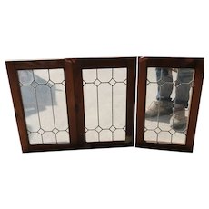 Set of Three Vintage American Pine and Clear Leaded Glass Cabinet Doors