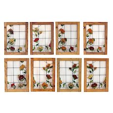 Set 8 Vintage American Copper Foil and Stained Glass and Solid Oak Cabinet Doors