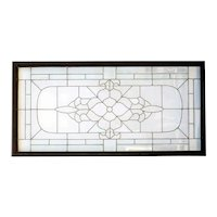 Large American Leaded, Blue Chip and Beveled Clear Glass Transom Window