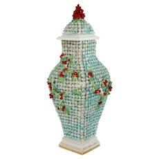Rare English Chelsea Rococo Snowball Style Vine and Berry Porcelain Covered Urn
