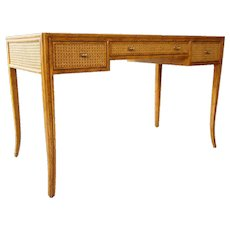 Vintage American McGuire Leather Top Oak and Caned Writing Desk