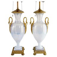Pair of French/Russian Ormolu Mounted Opalescent Glass Urn Table Lamps
