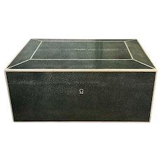 Vintage French Dark Green Shagreen Humidor Cigar Desk Box