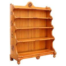 English Neo-Gothic Inlaid Pine Open Book Shelf