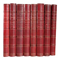 First Edition Set of Eight Leather Books: History of Greece by Victor Duruy