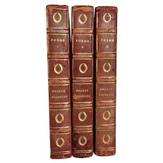 Set of Three Leather Books: Poems by George Meredith