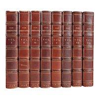 Set of 8 Leather Books: The Spectator by Joseph Addison et al.